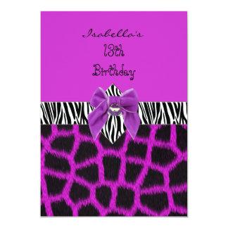 Invitation 13th Teen Birthday Wild Purple Animal