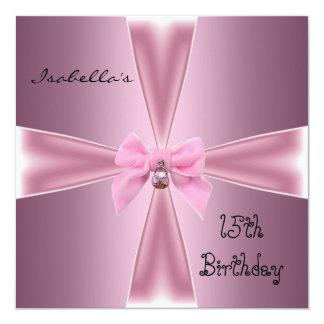Invitation 15th Birthday Satin Pink Bow