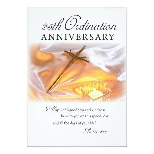 Invitation 25th Ordination Anniversary, Cross Can | Zazzle