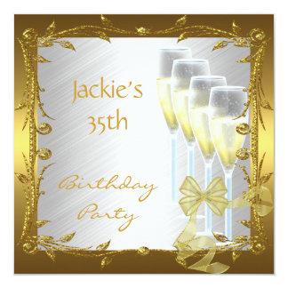 Invitation 35th Birthday Party Elegant White Gold