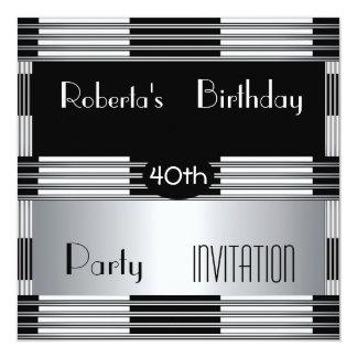 Invitation 40th Birthday Party Art Deco Black Silv
