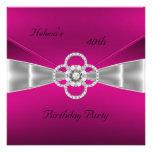 Invitation 40th Birthday Party Bright Pink Velvet Custom Invitation