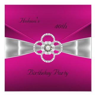 "Invitation 40th Birthday Party Bright Pink Velvet 5.25"" Square Invitation Card"