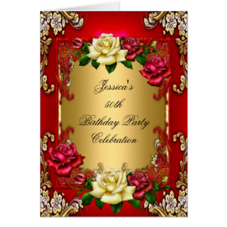 Invitation 50th Birthday Party Red Gold Rose Greeting Card