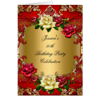 Invitation 50th Birthday Party Red Gold Rose Lace Greeting Card