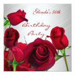 Invitation 50th Birthday Party Red Roses White Custom Announcements