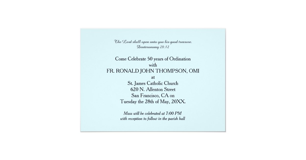 Ordination anniversary invitation wording invitation 50th ordination anniversary priest orn zazzle stopboris Images
