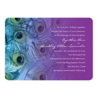 Invitation 5x7 Peacock Teal and Purple Set 1112a