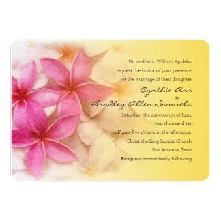 Invitation 5x7 Pink Plumeria with Yellow Custom Invites