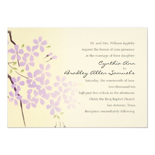 Invitation 5x7 Purple Cherry Blossom