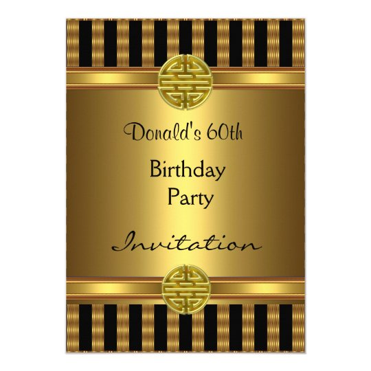 Invitation 60th Birthday Party Black Gold Mens Zazzle com