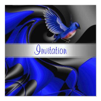 Invitation Abstract Blue Curve Blue Bird
