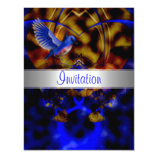 Invitation Abstract Blue Curve Blue Bird 3