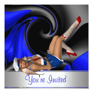 Invitation Abstract Blue Curve Pin up Girl 3