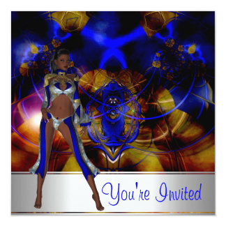 Invitation Abstract Blue Girl