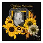 "Invitation Add Photo Sunflower Yellow Flower Frame 5.25"" Square Invitation Card"