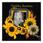 "Invitation Add Photo Sunflower Yellow Flower Frame 5.25"" Square Invitation Card"