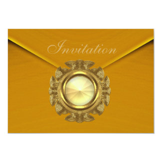 "Invitation All Occasion Rich Velvet Mustard Jewel 5"" X 7"" Invitation Card"