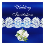 Invitation All Occasions Blue White Lace Floral Announcements