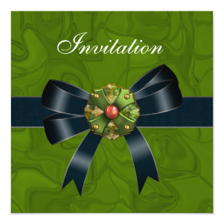 Invitation All Occasions Crush Green Black Bow