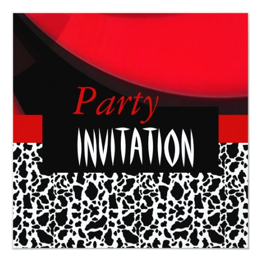 Invitation All Occasions Red Black Animal Party Personalized Invites