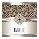 Invitation Art Deco Cream Beige Animal Print Personalized Invitation