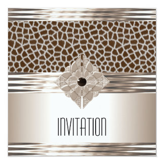Invitation Art Deco Cream Beige Animal Print