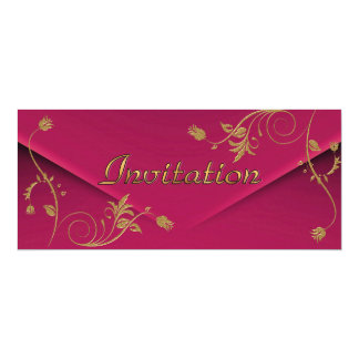Invitation Asian Pink Gold Floral Personalized Announcement