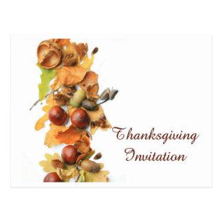 invitation autumn border thanksgiving postcard