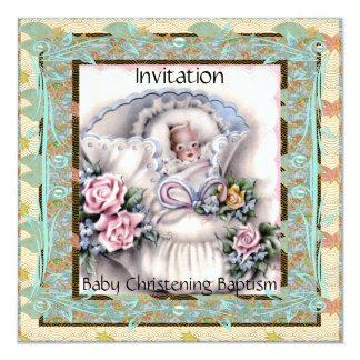 Invitation Baby Christening Baptism Teal Vintage Custom Invitations