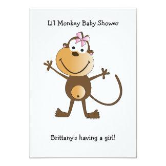 Invitation Baby Shower Monkey Girl