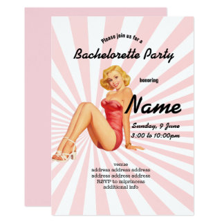 invitation, Bachelorette Party, vintage pinup girl Card