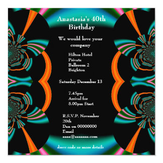 Invitation Birthday Abstract Green Albums