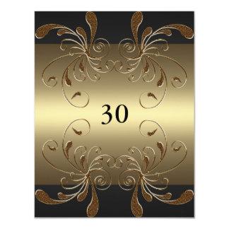 Invitation Birthday Black & Gold Floral Glam