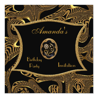 Invitation Birthday Black Gold Wild Exotic Abstrac