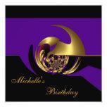 """Invitation Birthday Black & Purple Gold Abstract 5.25"""" Square Invitation Card"""