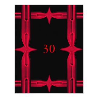 Invitation Birthday Black & Red Trim