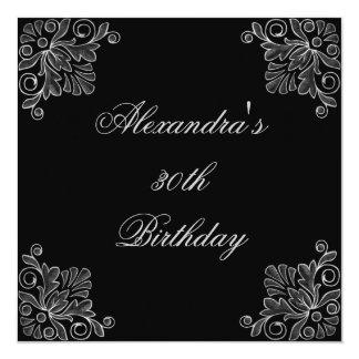 Invitation Birthday Black & Silver Floral