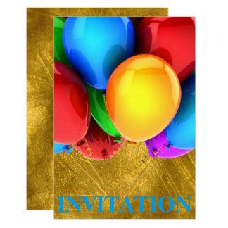 Invitation Birthday Carnival Ballons Gold
