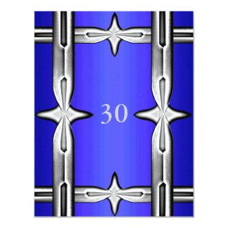 Invitation Birthday Cobalt Blue & Silver