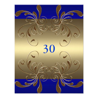 Invitation Birthday Cobalt & Gold Floral Glam Custom Invitations