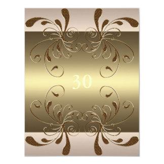 Invitation Birthday Cream & Gold Floral Glam