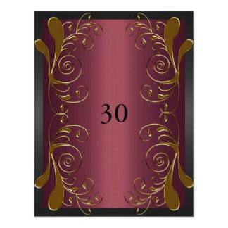 Invitation Birthday Dark Pink Black & Gold Floral