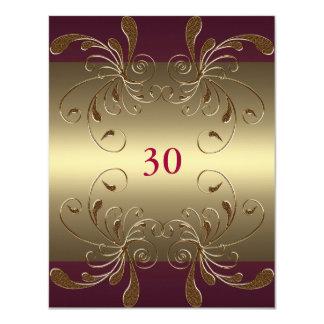 Invitation Birthday Dark Pink & Gold Floral Glam