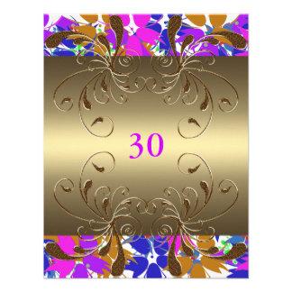 Invitation Birthday Gold Floral Glam Custom Invitations