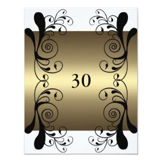 Invitation Birthday Gold White & Black Floral Glam