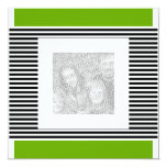 "Invitation Birthday Lime Green Black Stripe Photo 5.25"" Square Invitation Card"