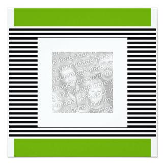 Invitation Birthday Lime Green Black Stripe Photo