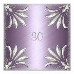 """Invitation Birthday Mauve with Silver Floral 5.25"""" Square Invitation Card"""
