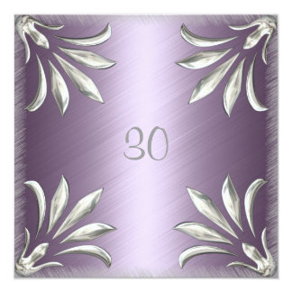 Invitation Birthday Mauve with Silver Floral